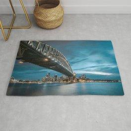 Famous Sydney Harbour Bridge Opera House Romantic City Skyline At Night Australia Oceania Ultra HD Rug