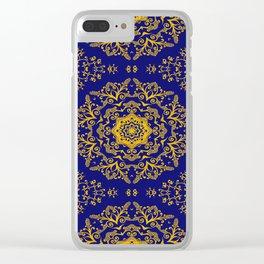 golden mandala pattern on the dark blue background Clear iPhone Case