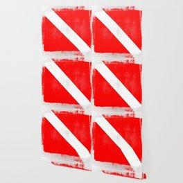 Diver Down Distressed Halftone Denim Flag Wallpaper