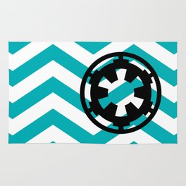 Imperial Cog on Blue Chevrons Rug