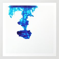 Ink Abstract - Blue Art Print