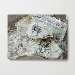 Old Newspaper Left to the Elements...Children's Page Metal Print