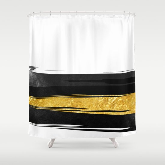 Gold And Black Stripes Shower Curtain By Cafelab