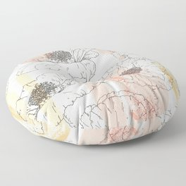 Watercolor Poppies Seamless Print Floor Pillow