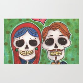 Te Amo Day of the Dead Rug