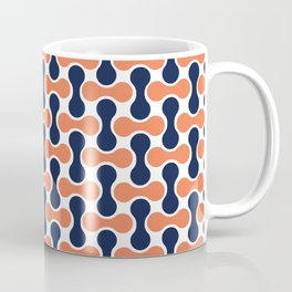 Retro Art, Mid Century Modern, Geometric Art, orange and navy blue Coffee Mug