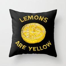 Lemons Are Yellow Throw Pillow