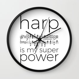 Harp is my super power (2) (white) Wall Clock