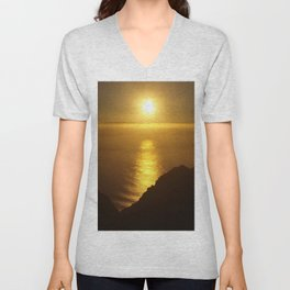 Sunset over the Canary islands Unisex V-Neck