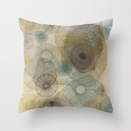 Watercolour Spirograph Throw Pillow