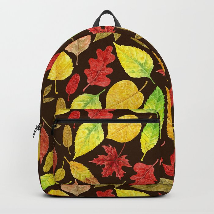 Autumn leaves watercolor dark Backpack