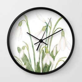 white snowdrop flower watercolor Wall Clock