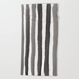 Grey Stripe Abstract Painting Beach Towel
