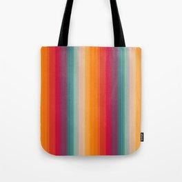 Retro Rainbow Striped Pattern Tote Bag