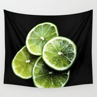 lemon Wall Tapestries featuring lemon lima by VanessaGF