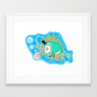 steam punk Framed Art Prints featuring Whimsical Steam Punk Fish by J&C Creations