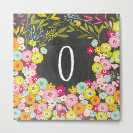 O botanical monogram. Letter initial with colorful flowers on a chalkboard background Metal Print