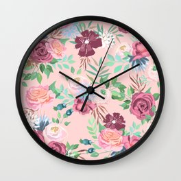 Rose Pink Floral Pattern Wall Clock
