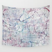 kansas Wall Tapestries featuring Kansas city map by MapMapMaps.Watercolors