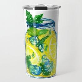 Watercolor - Iced Lemon Mint Tea Travel Mug