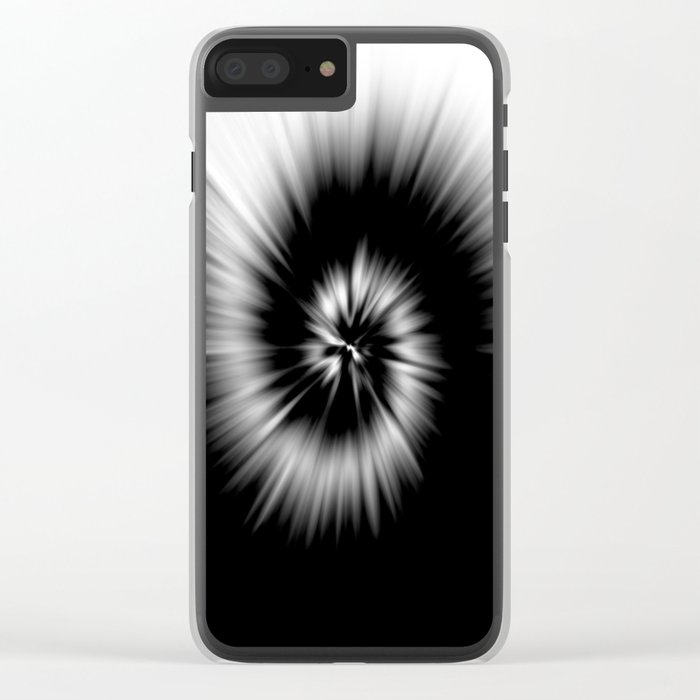 TIE DYE #1 (Black & White) Clear iPhone Case
