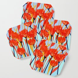 Red Fall Flowers Coaster