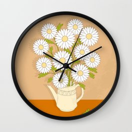 bouquet of white camomiles in the vase Wall Clock
