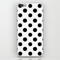 polka dots iPhone & iPod Skins featuring Polka Dots (Black/White) by 10813 Apparel