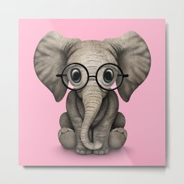 Cute Baby Elephant Calf with Reading Glasses on Pink Metal Print