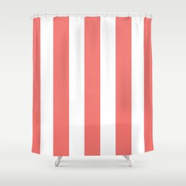 White and Coral Stripes Shower Curtain