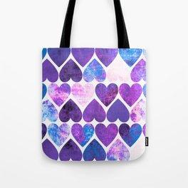 Mod Purple & Blue Grungy Hearts Design Tote Bag