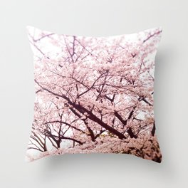 Hiroshima Castle (Cherry Blossom) Throw Pillow
