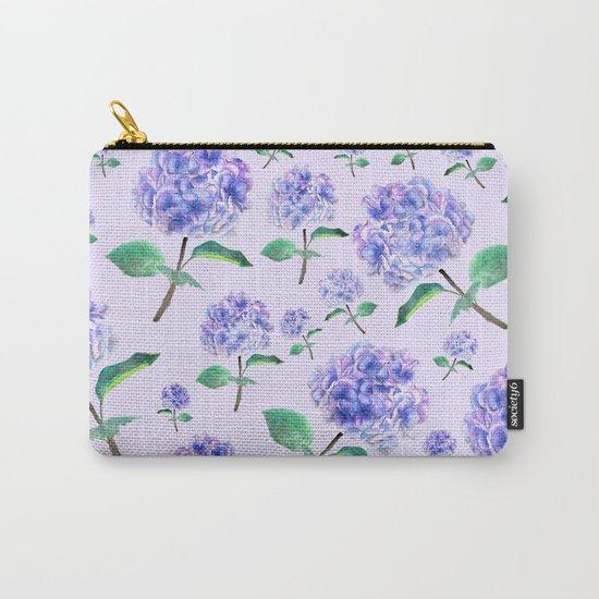 purple blue hydrangea in purple background Carry-All Pouch