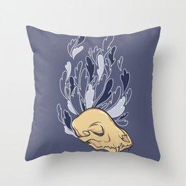 Cat skull Throw Pillow