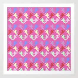 colorful cherubs pink Art Print