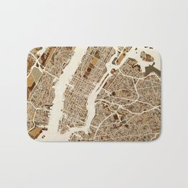 New York City Street Map Bath Mat