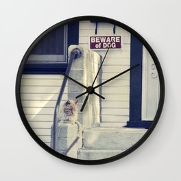 Beware  Of Dog Wall Clock