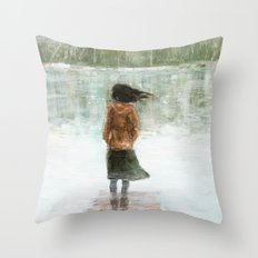 Girl on the pier Throw Pillow