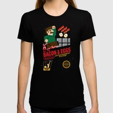 All the Bacon and Eggs Black Womens Fitted Tee LARGE