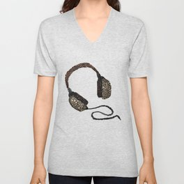 Put Your (Vintage) Headphones On - Abstract Unisex V-Neck