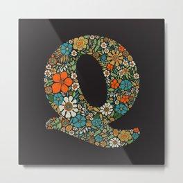 Hippie Floral Letter Q Metal Print