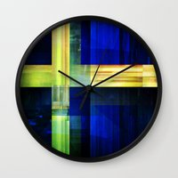 sweden Wall Clocks featuring Flag: Sweden by Ambassad Collective