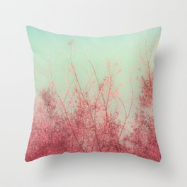 Harmony (Mint Blue Sky, Coral Pink Plants) Throw Pillow