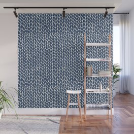 Hand Knit Navy Wall Mural