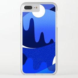 Terrazzo landscape blue night Clear iPhone Case