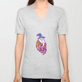 Wizard Tornado Mascot Unisex V-Neck