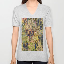 Abstract oil painting Cactus patch Unisex V-Neck