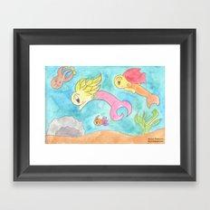 Leafy Mermaids Framed Art Print