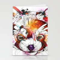 red panda Stationery Cards featuring Red Panda  by Abby Diamond