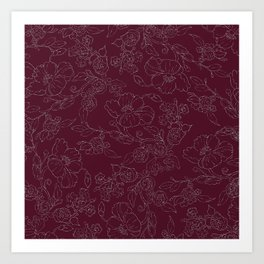 Chic burgundy silver glitter elegant flowers pattern Art Print